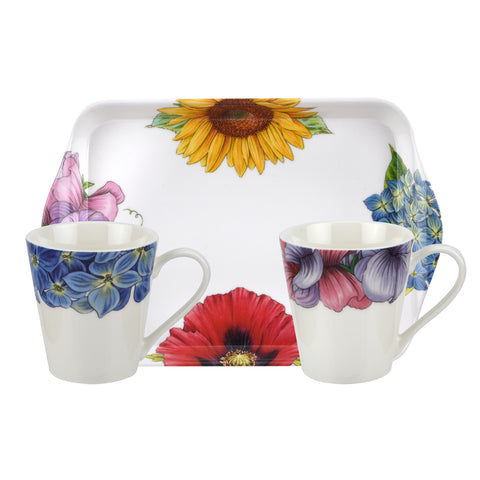 Botanic Blooms Mini Mugs & Tray Set ( Sweet Pea / Hydrangea )