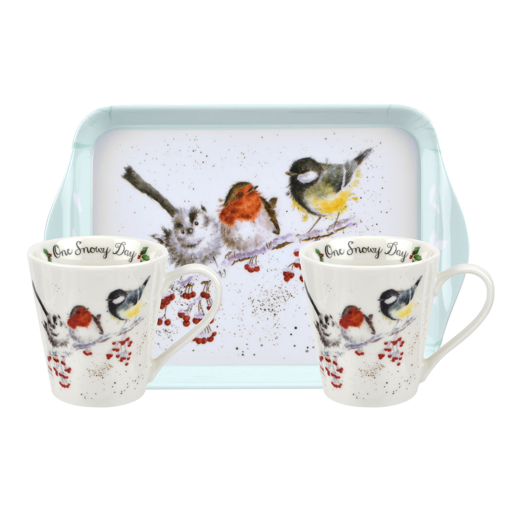 Wrendale Mini Mugs & Tray Set - Christmas Collection - Birds