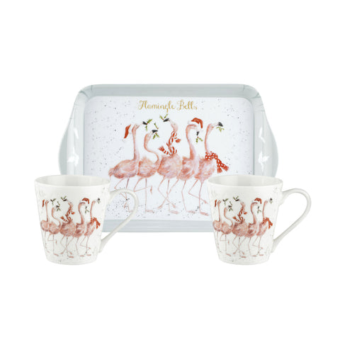 Wrendale Mini Mugs & Tray Set - Christmas Collection - Flamingoes