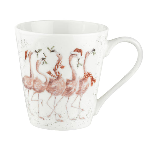 Wrendale Mini Mugs & Tray Set - Christmas Collection - Flamingle Bells