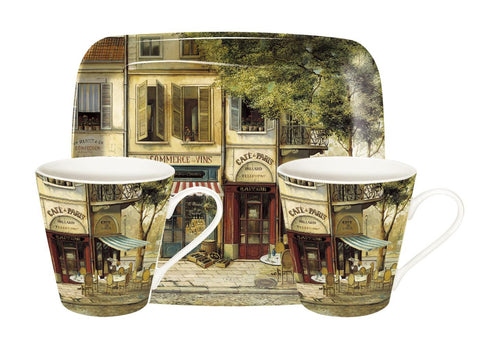 Parisian Scenes Mini Mugs & Tray Set