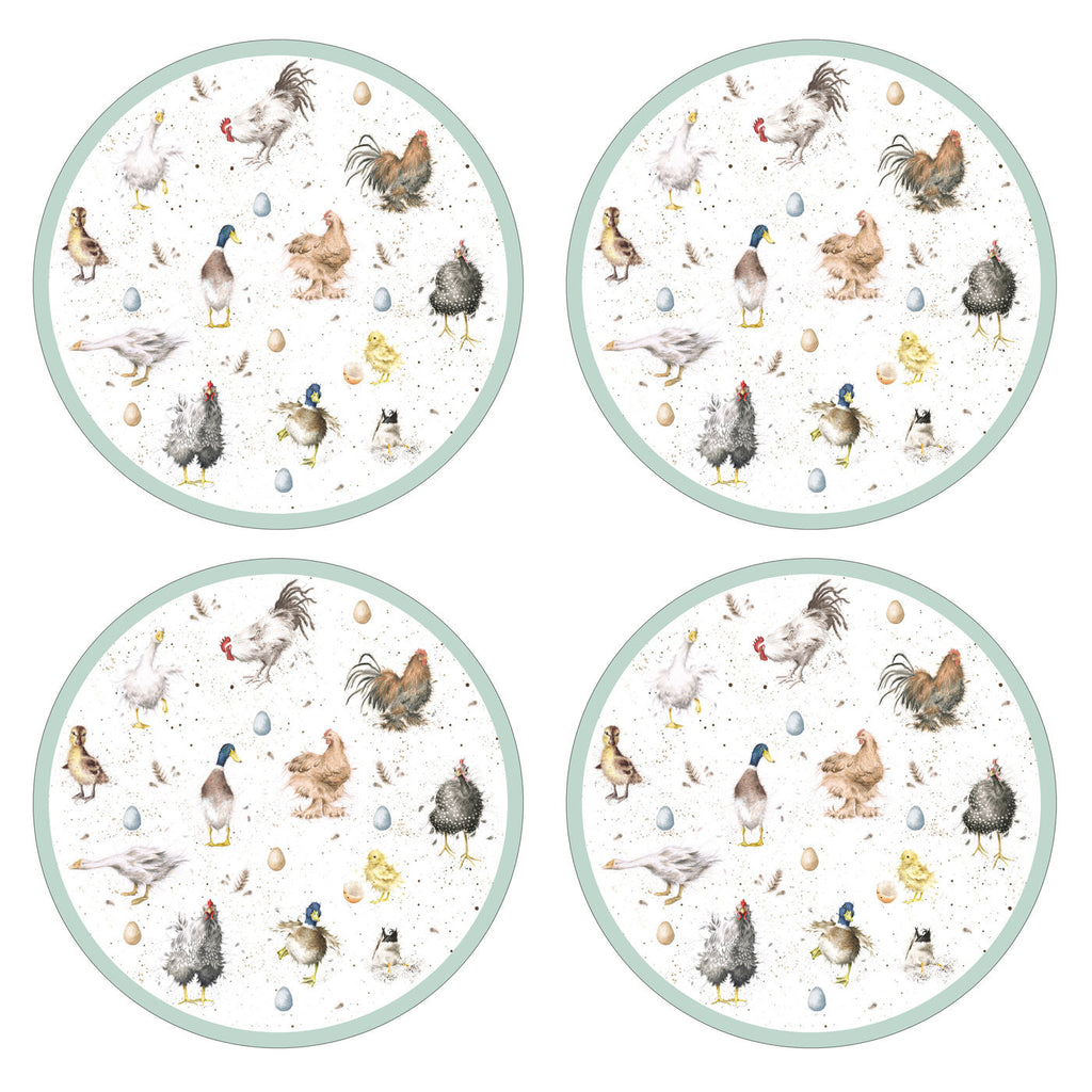 "Wrendale Designs ""Farmyard Feathers"" Round Placemat S/4 (s)"