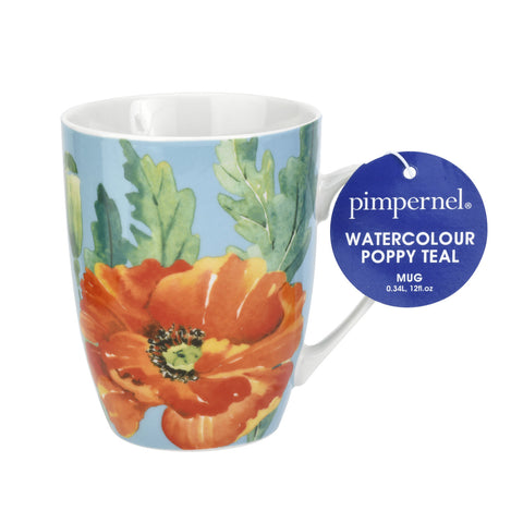 Pimpernel Mug - Watercolour Poppy, Teal