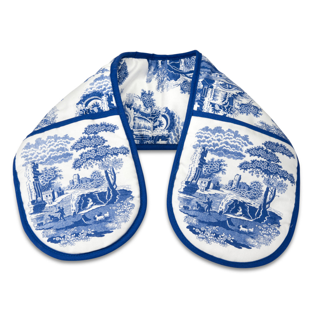 Blue Italian Double Oven Gloves