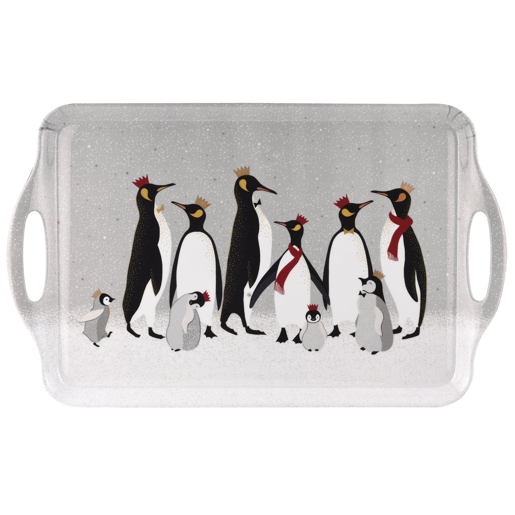 Sara Miller Large Handled Tray - Penguin Christmas Collection