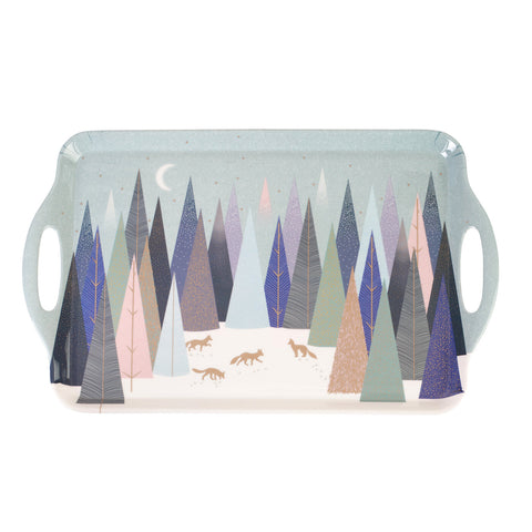 Sara Miller Large Handled Tray Frosted Pines