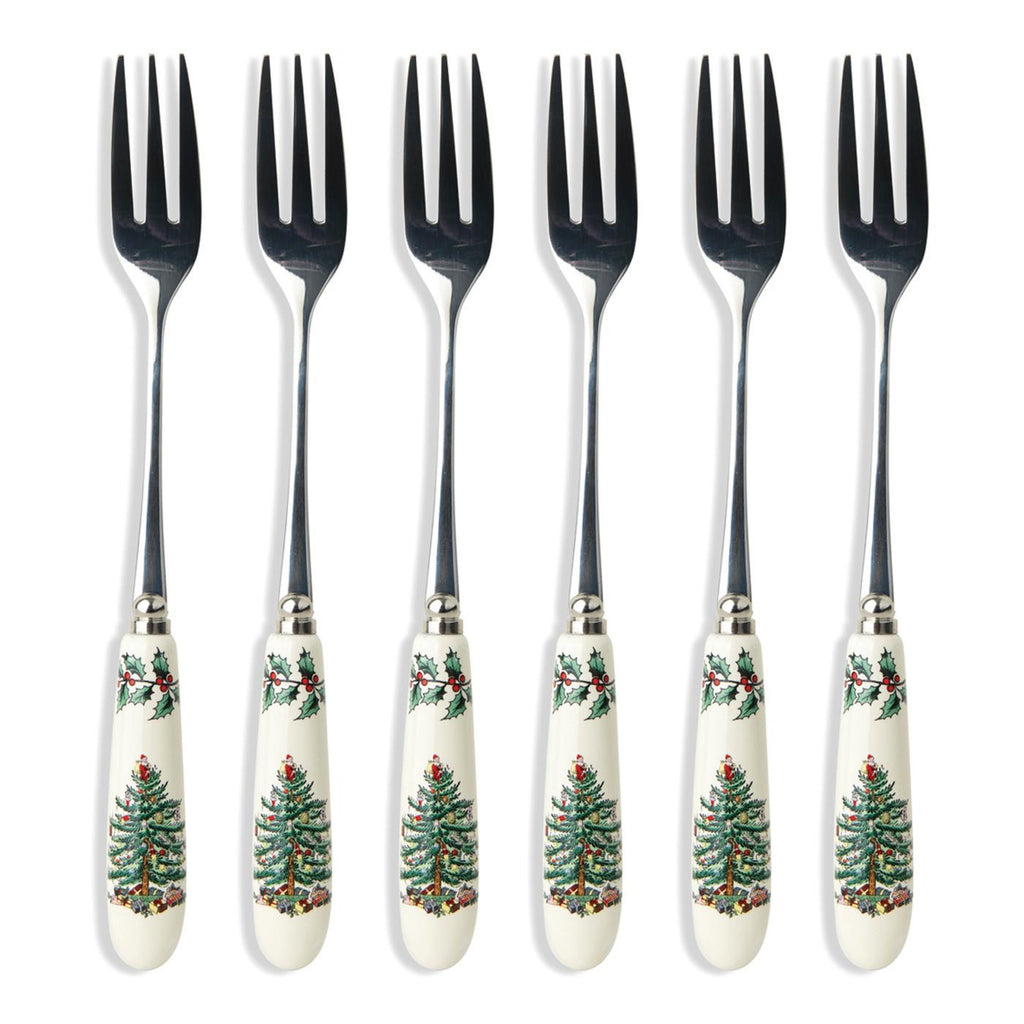 Spode Christmas Tree Pastry Forks Gift Set of 6