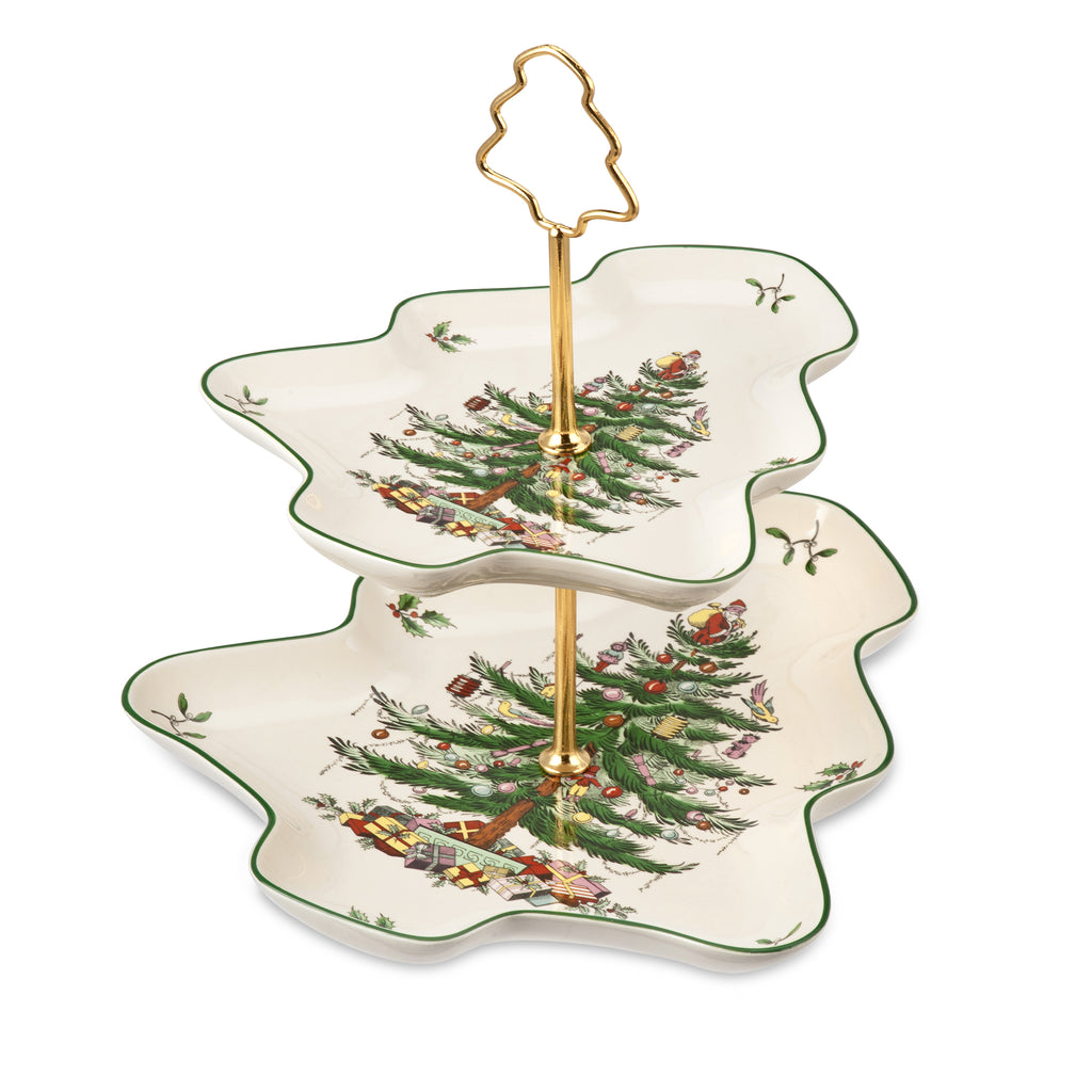 Spode Christmas Tree Sculpted Two Tier Server