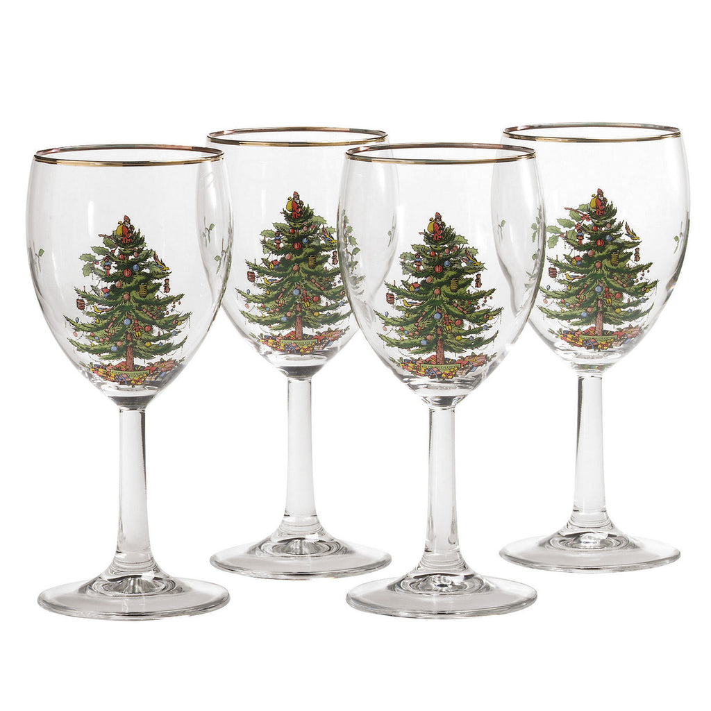 Spode Christmas Tree Wine Glass - Gift Boxed Set of 4