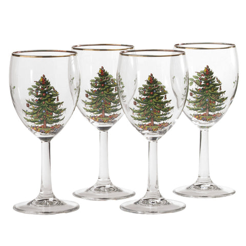 Spode Christmas Tree Wine Glass - Gift Box Set of 4