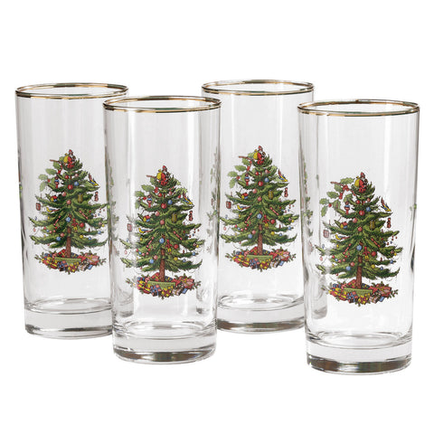 Spode Christmas Tree - Highball Glass  ( Gift Box Set of 4 )