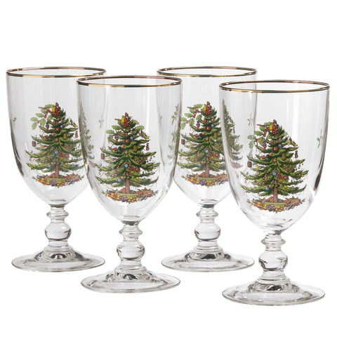 Spode Christmas Tree Goblet - Gift Box Set of 4