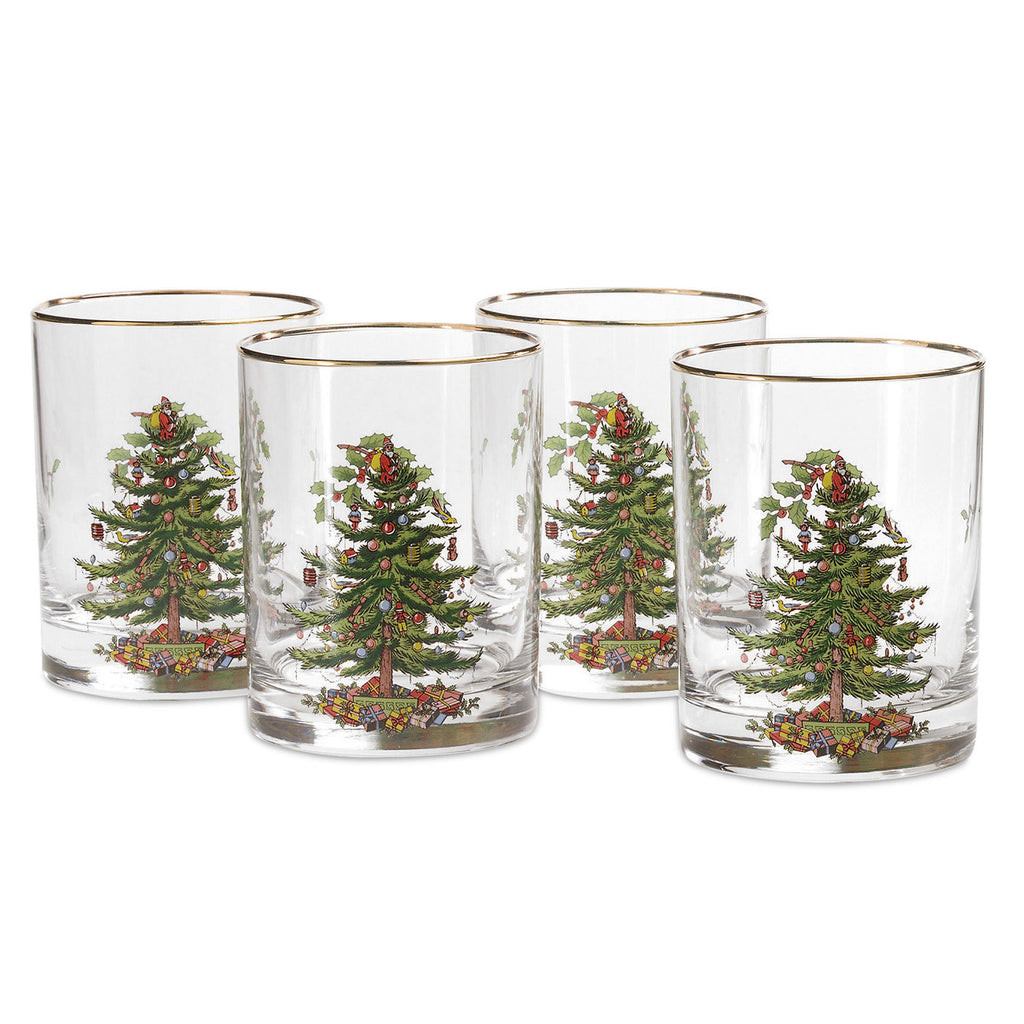 Spode Christmas Tree Double Old Fashioned Glass Gift Box of 4