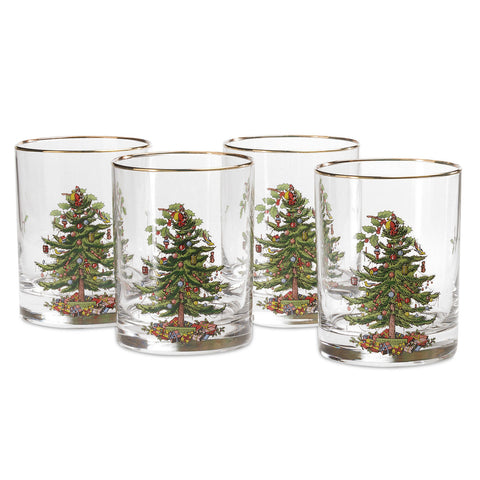 Spode Christmas Tree - Double Old Fashioned ( Gift Box Set of 4 )