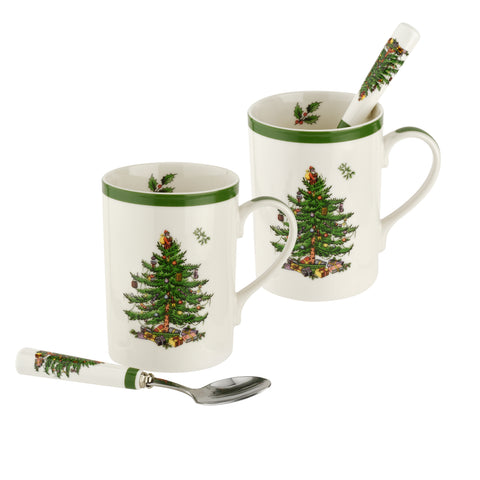 Spode Christmas Tree Mug & Spoon Gift Set