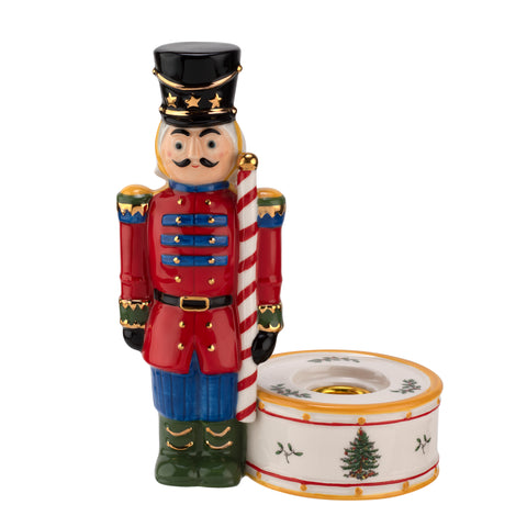 Spode Christmas Tree Nutcracker Candle Holder Red