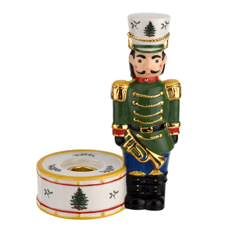 Spode Christmas Tree Nutcracker Candle Holder Green
