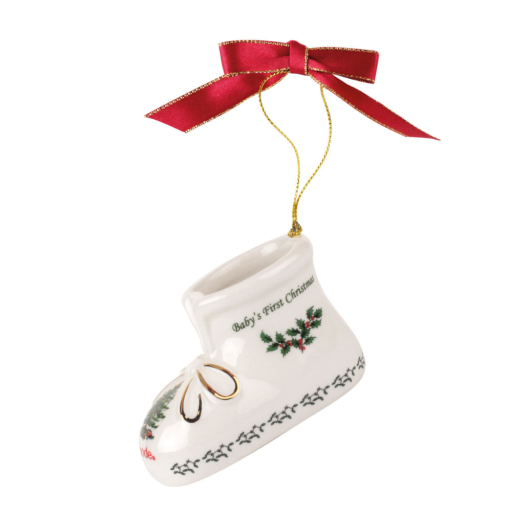 Spode Christmas Tree Babies 1st Christmas Bootie Decoration