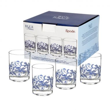 Spode Blue Italian Double Old Fashioned Glass ( Box Set of 4 )
