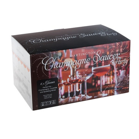 Dartington Crystal Champagne Saucer Glasses Party Pack ( Box Set of 6 )