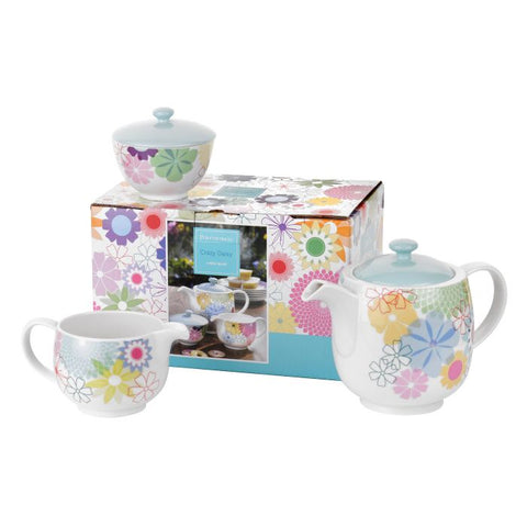 Crazy Daisy 3 Piece Tea Service - Teapot, Cream & Sugar