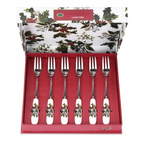 The Holly & the Ivy Pastry Forks  ( Gift Box Set of 6 )