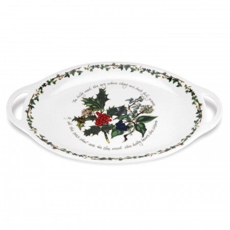 The Holly & the Ivy Large Oval Handled Platter