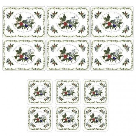The Holly & The Ivy Placemats S/6 & 6 FREE Coasters (s)
