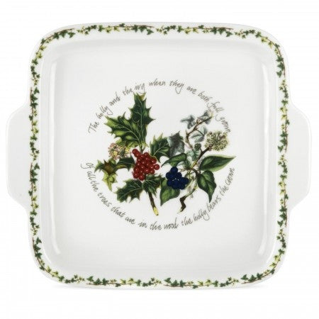 The Holly & the Ivy Square Handled Cake Plate