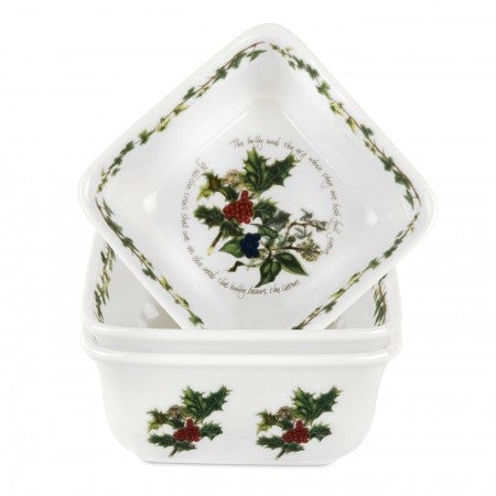 The Holly & the Ivy Mini Square Dishes  ( Gift Box Set of 3 )