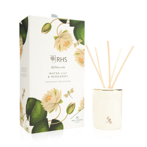 Wax Lyrical RHS Ceramic Reed Diffuser Water Lily & Bergamot