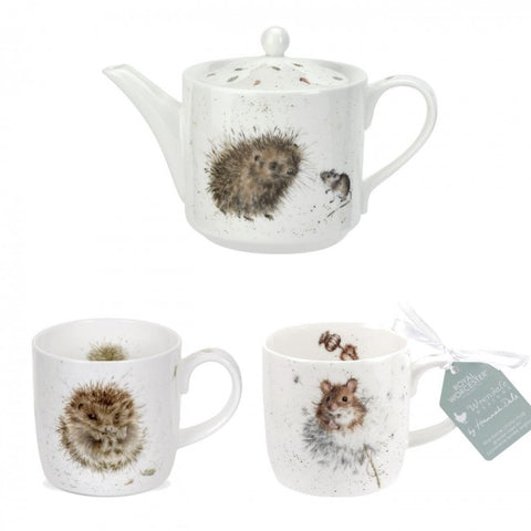 Wrendale Teapot with 2 x Mugs - Hedgehog & Mouse