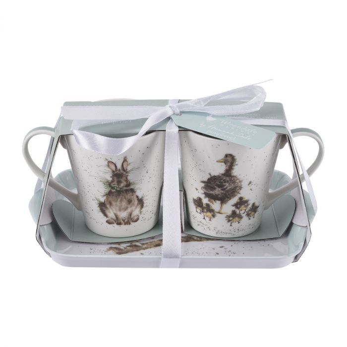 Wrendale Mini Mugs & Tray Set - Rabbit, Ducks & Owls