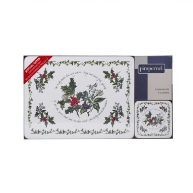 The Holly & the Ivy Placemats & Coasters ( Box set 6 of each )
