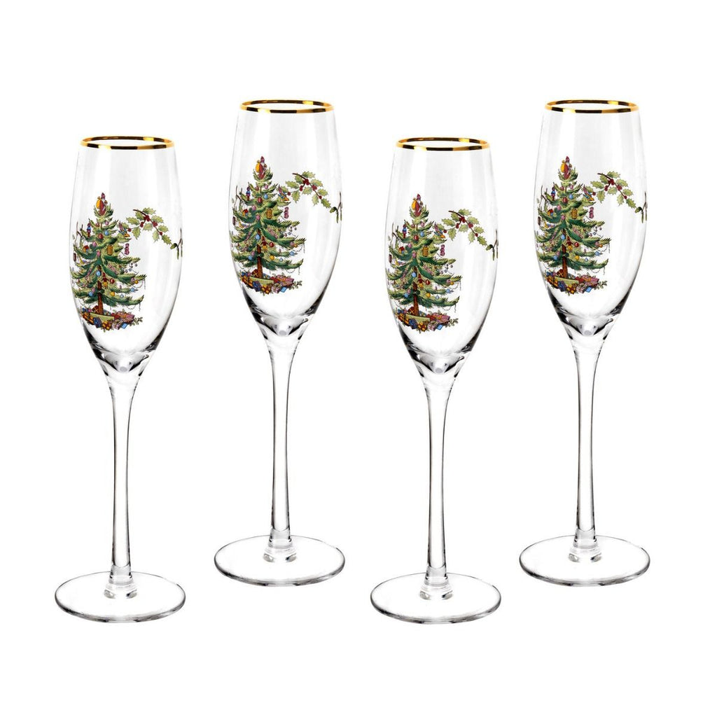 Spode Christmas Tree Champagne Flutes ( Box Set of 4 )