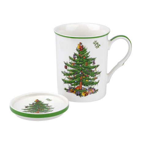 Spode Christmas Tree Mug & Coaster Set