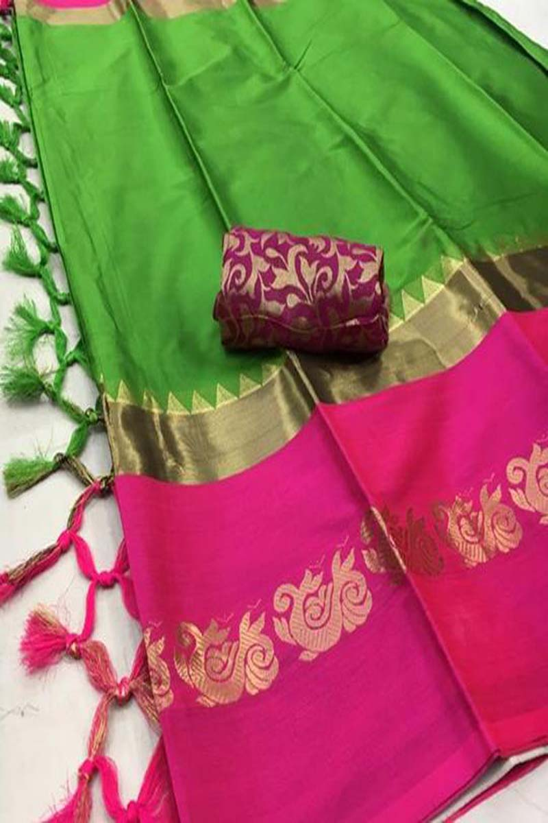 GREEN AND PINK COLOR COTTON SILK SAREE (PEACOCK)