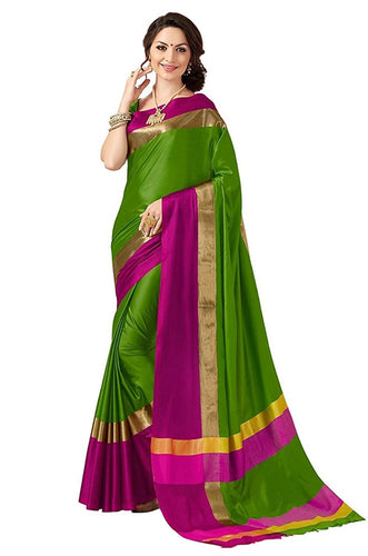 Green And Pink Color Poly Cotton Saree