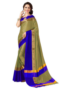Gold And Blue Color poly cotton saree