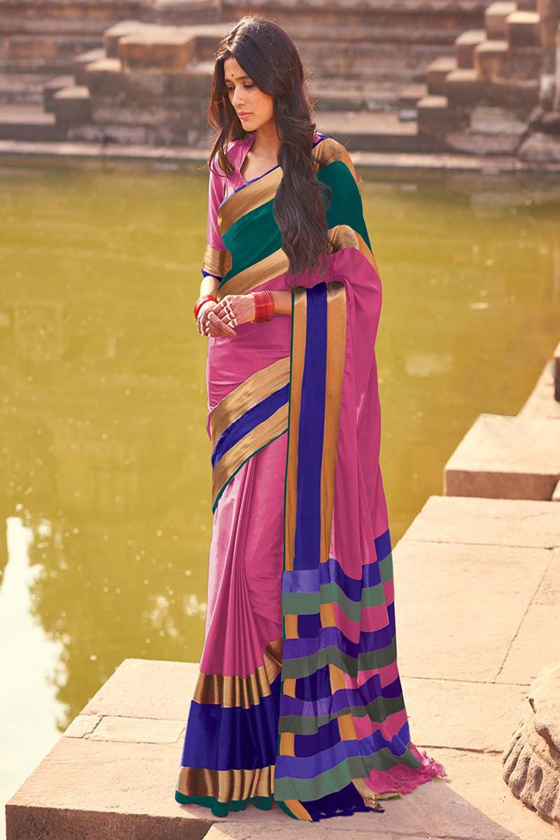 Women Store Lightpink And Blue color Cotton Silk Saree Aangi Plus