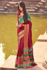 Women Store Maroon And Pink Color Cotton Silk Saree Aangi Plus