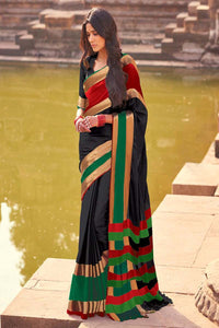 Women Store Black And Green Color Cotton Silk Saree Aangi Plus