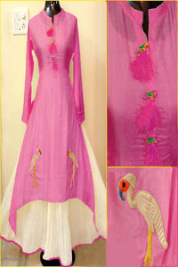Pink Color Designer embrodried Kurti ws-1008