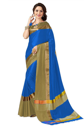 Blue And Gold Color Poly Cotton Saree