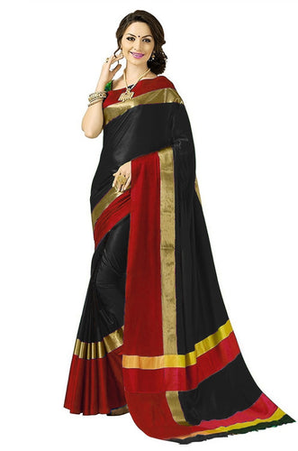 Black And Red Color Poly Cotton Saree