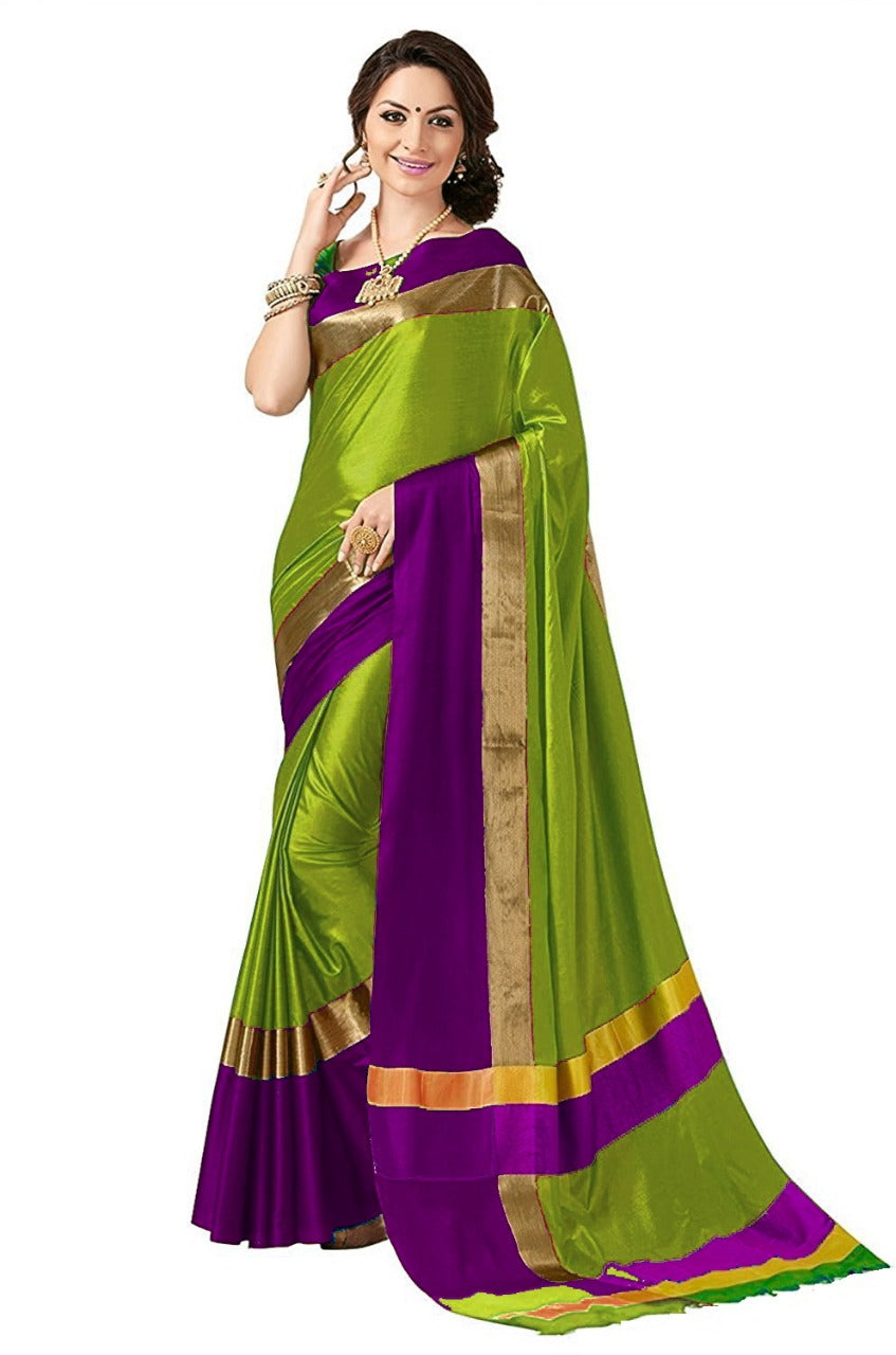 Green And Purple Color Poly Cotton Saree