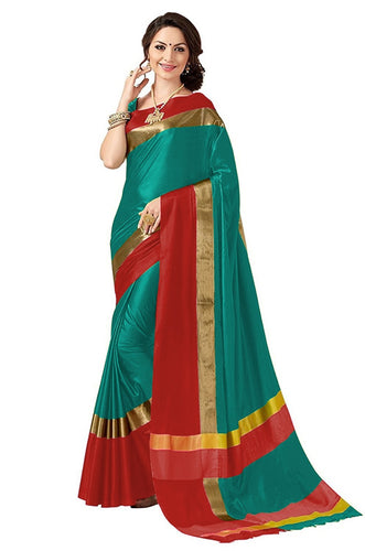 Rama And Red Color Poly Cotton Saree
