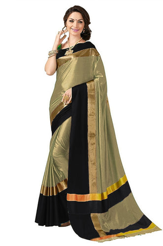 Gold And Black Color Poly Cotton Saree