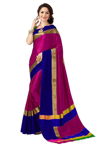 Pink And Blue Color Poly Cotton Saree