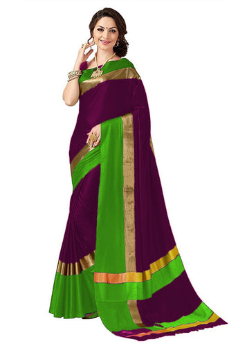 Wine And Green Color Poly Cotton Saree